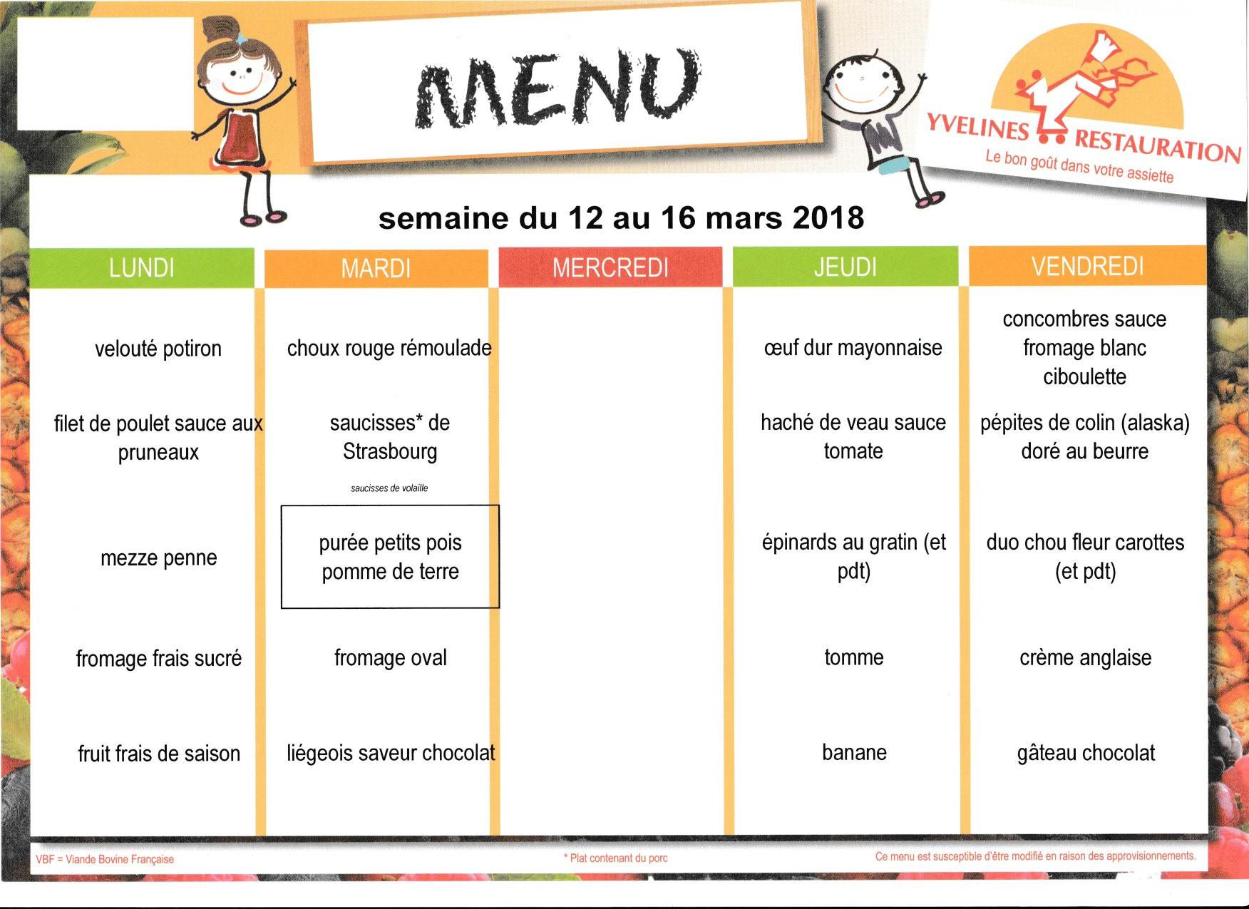 menu du 12 au 16 mars