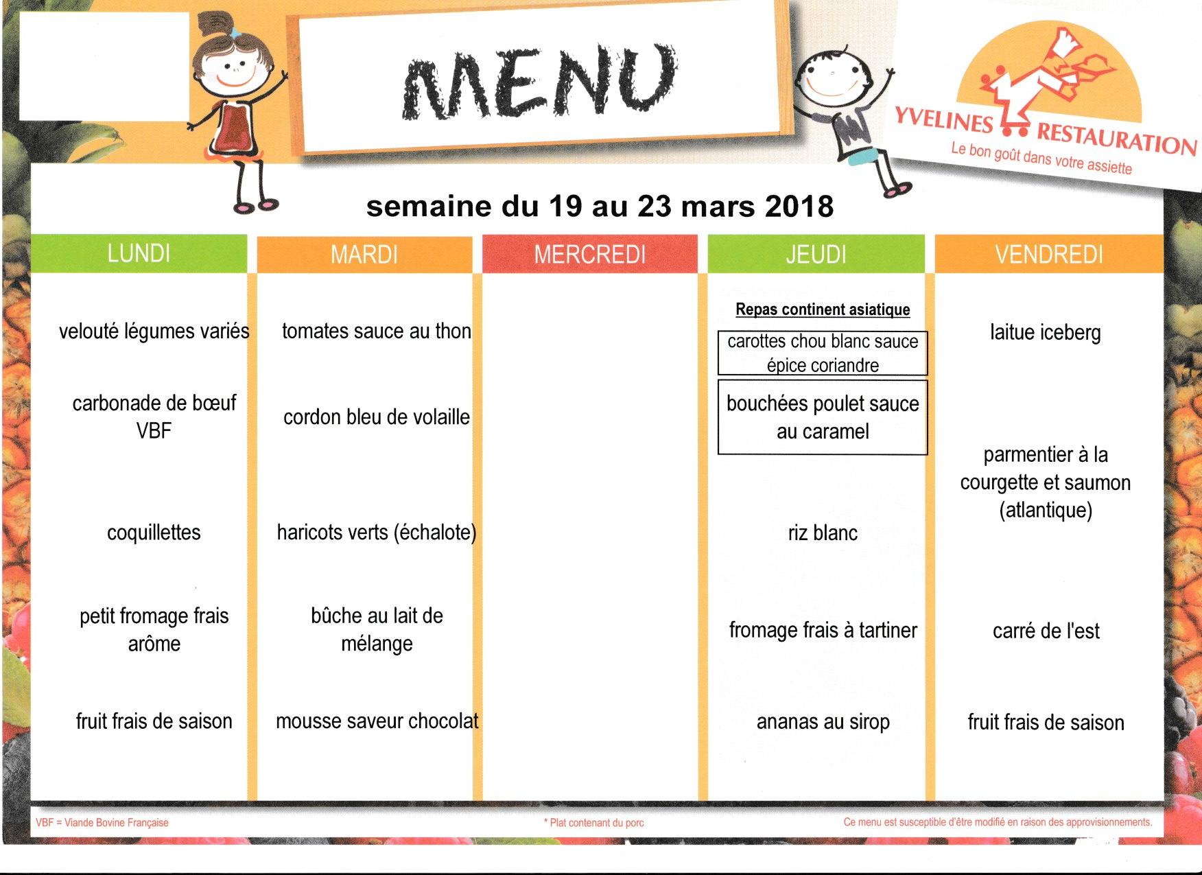 menu du 19 au 23 mars