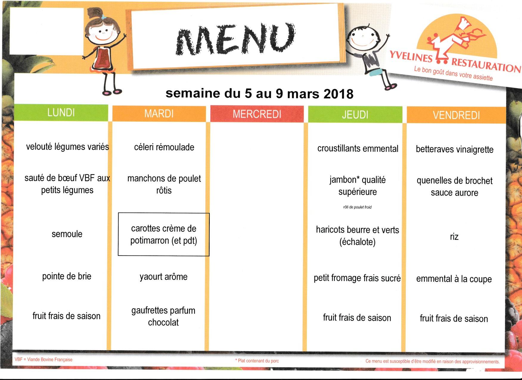 menu du 5 au 9 mars
